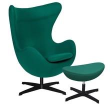Fotel EGG CLASSIC BLACK z podnóżkiem - szmaragdowy zielony.41, podstawa czarna