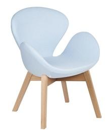 Fotel SWAN WOOD błękitny, wełna - podstawa drewniana dębowa