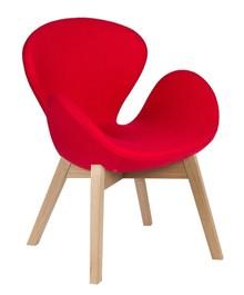 Fotel SWAN WOOD czerwony, wełna - podstawa drewniana dębowa