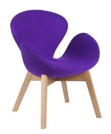 Fotel SWAN WOOD fioletowy, wełna - podstawa drewniana dębowa