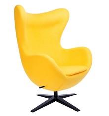 Fotel EGG SZEROKI BLACK - żółty