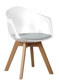 Fotel HOLEY ARM biały z szarą poduszką - podstawa dębowa