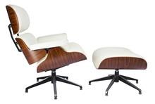 Fotel LOUNGE z podnóżkiem skóra - biały/sklejka różana