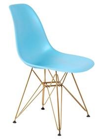 Siedzisko i oparcie wykonane jest z tworzywa sztucznego.<br />Nogi zrobione są ze stali w kolorze złotym błyszczącym.<br />Waga netto 1 szt.:...