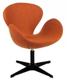 Fotel SWAN BLACK karmelowy - wełna, podstawa czarna