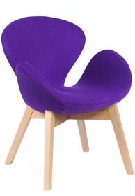 Fotel SWAN WOOD fioletowy - wełna, podstawa bukowa