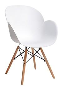 MODESTO fotel FLOWER WOOD biały - polipropylen, podstawa bukowa