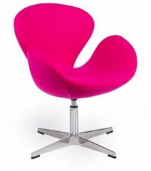 MODESTO fotel SWAN UP różowy, wełna - regulowana wysokość