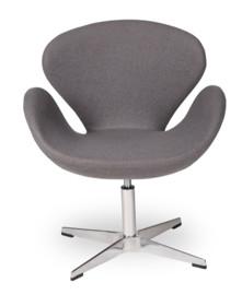 Fotel SWAN UP marki MODESTO DESIGN.<br>Oparcie i siedzisko tapicerowane jest wełną kaszmirową w kolorze szarym .<br>Podstawa chromowana z...