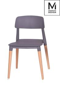 Krzesło ECCO marki MODESTO DESIGN.<br />Siedzisko i oparcie wykonane zostało z tworzywa sztucznego w kolorze szarym matowym.<br />Nogi z drewna...