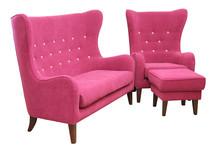 Styl i wygoda!  Nowoczesny, modny komplet mebli wypoczynkowych ORLEAN:Sofa 2-osobowa, fotel i podnóżek Meble wykonane na stelażu drewnianym....