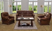 PROMOCJA - Zestaw wypoczynkowy Parma 3F + 1 + 1 w skórze naturalnej  W skład zestawu wchodzi: - 3F sofa trzyosobowa z funkcją spania - dwa fotele ...