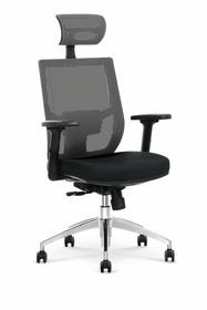 Fotel gabinetowy ADMIRAL - popielaty/czarny
