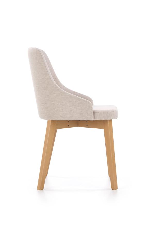Krzesło TOLEDO 2 beżowe dąb miodowy tapicerowane HALMAR