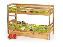 Łóżko piętrowe z materacami SAM - olcha