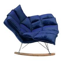 Fotel bujany SWING VELVET - chrom/ciemny niebieski