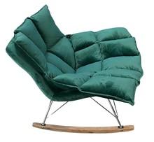 Fotel bujany SWING VELVET - chrom/ciemny zielony
