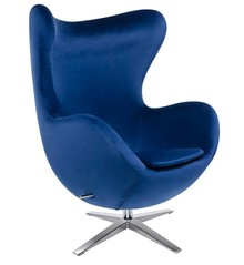 Fotel EGG SZEROKI VELVET - ciemny niebieski
