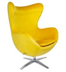 Fotel EGG SZEROKI VELVET - żółty