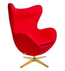 Fotel EGG SZEROKI GOLD - czerwony