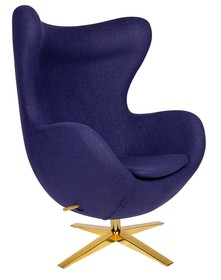 Fotel EGG SZEROKI GOLD kształtem nawiązuje do jednego z najbardziej znanych projektów.<br />Nasz Fotel wyposażony jest w mechanizm obrotowy z...