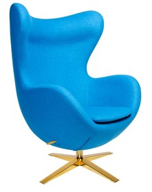 Fotel EGG SZEROKI GOLD - niebieski