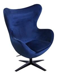 Fotel EGG SZEROKI VELVET BLACK - ciemny niebieski
