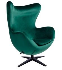 Fotel EGG SZEROKI VELVET BLACK - ciemny zielony