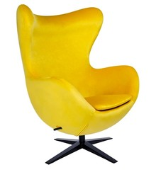 Fotel EGG SZEROKI VELVET BLACK - żółty