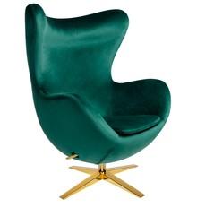 Fotel EGG SZEROKI VELVET GOLD - ciemny zielony