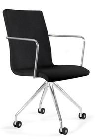 Biurowy fotel obrotowy VISITOR  Parametry techniczne:  - Krzesło obrotowe na kółkach - Siedzisko i oparcie tapicerowane tkaniną materiałową -...