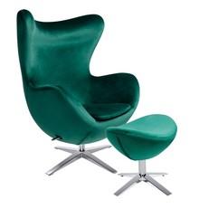 Fotel EGG SZEROKI VELVET z podnóżkiem - ciemny zielony