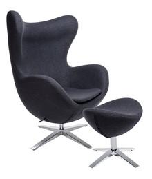 Fotel EGG SZEROKI z podnóżkiem - ciemny szary
