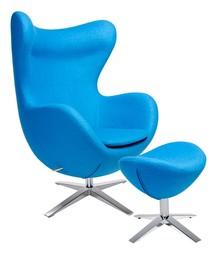 Fotel EGG SZEROKI z podnóżkiem niebieski.6 - wełna, podstawa stal