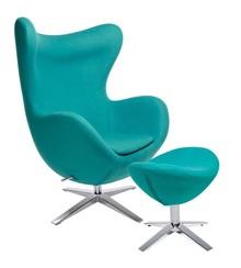 Fotel EGG SZEROKI z podnóżkiem - turkusowy