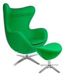 Fotel EGG SZEROKI z podnóżkiem zielony.10 - wełna, podstawa stal