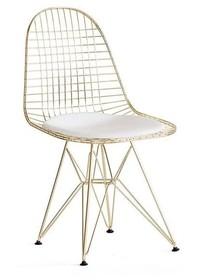 Krzesło DSR NET GOLD - złoty metalik/biały