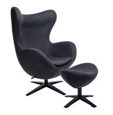 Fotel EGG SZEROKI BLACK z podnóżkiem - ciemny szary
