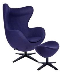 Zestaw Fotel EGG SZEROKI BLACK z podnóżkiem.<br />Fotel kształtem nawiązuje do jednego z najbardziej znanych projektów.<br...