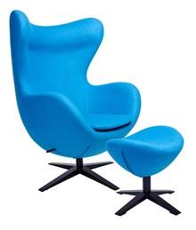 Fotel EGG SZEROKI BLACK z podnóżkiem niebieski.6 - wełna, podstawa czarna