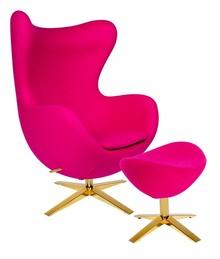 Zestaw Fotel EGG SZEROKI GOLD z podnóżkiem.<br />Fotel kształtem nawiązuje do jednego z najbardziej znanych projektów.<br...