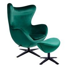 Fotel EGG SZEROKI VELVET BLACK z podnóżkiem - ciemny zielony