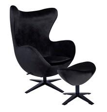 Fotel EGG SZEROKI VELVET BLACK z podnóżkiem - czarny