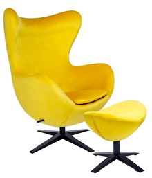 Fotel EGG SZEROKI VELVET BLACK z podnóżkiem - żółty