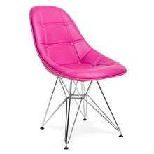 Krzesło EKO SILVER amarantowy T18 - ekoskóra, podstawa chromowana