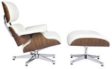 Fotel LOUNGE VA PREMIUM SZEROKI z podnóżkiem - biały/orzech