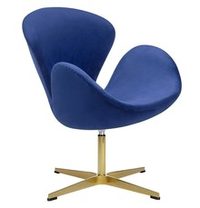 Fotel SWAN VELVET PREMIUM GOLD - ciemny niebieski