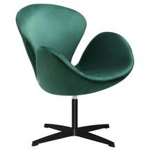 Fotel SWAN VELVET PREMIUM BLACK - ciemny zielony