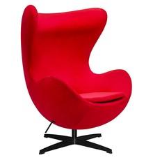 Fotel EGG CLASSIC VELVET BLACK - czerwony