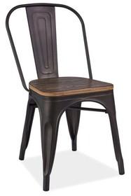 Krzesło LOFT drewno - ciemny orzech/grafit